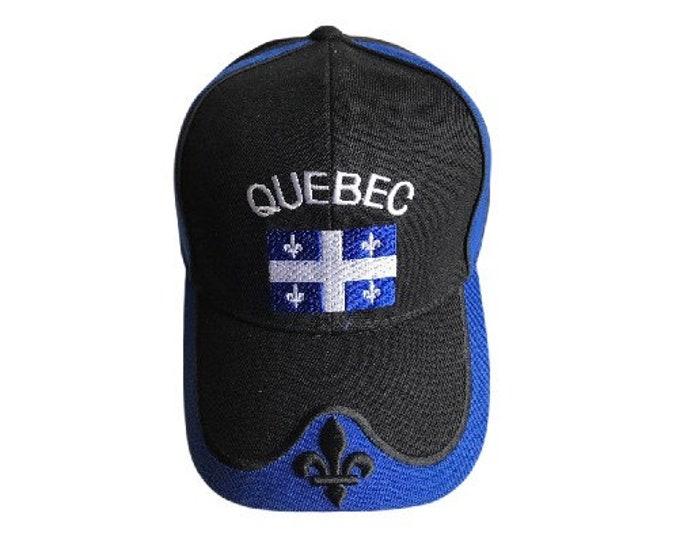 Quebec Flag Canada Fleur De Lys Hat Cap Baseball Black Chapeau Casquette