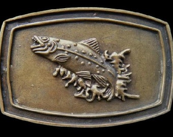 Fish Fishing Sport Trout Bass Lake Fishermen Vintage Belt Buckles!