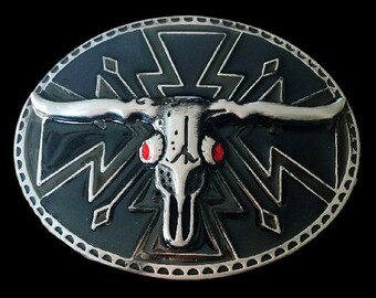 Longhorn Bull Red Eyes Skull Cow Steer Belt Buckle Buckles