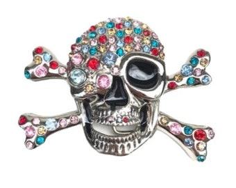 Rhinestone Bejeweled Skull & Crossbones Pirate Silver Color Belt Buckle New