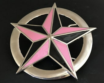 Pink And Black Nautical Star Belt Buckle