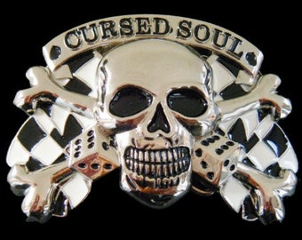 Crossbones Skull Cursed Soul Belt Buckle Checkers Skulls Skeletons Belts Buckles