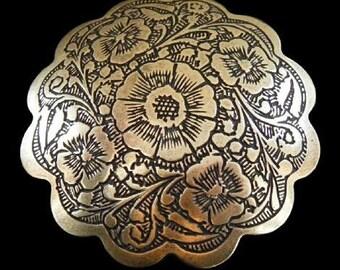 Western Flower Floral Brass Belt Buckle