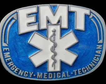 Blue EMT Emergency Medical Technician Doctor Belt Buckle Buckles