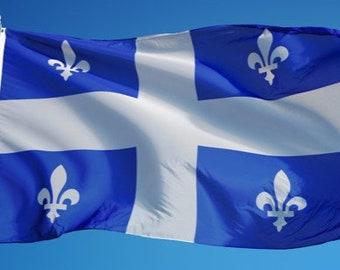 Quebec National Big Waving Pole Flag Drapeau Fleur De Lis Lys