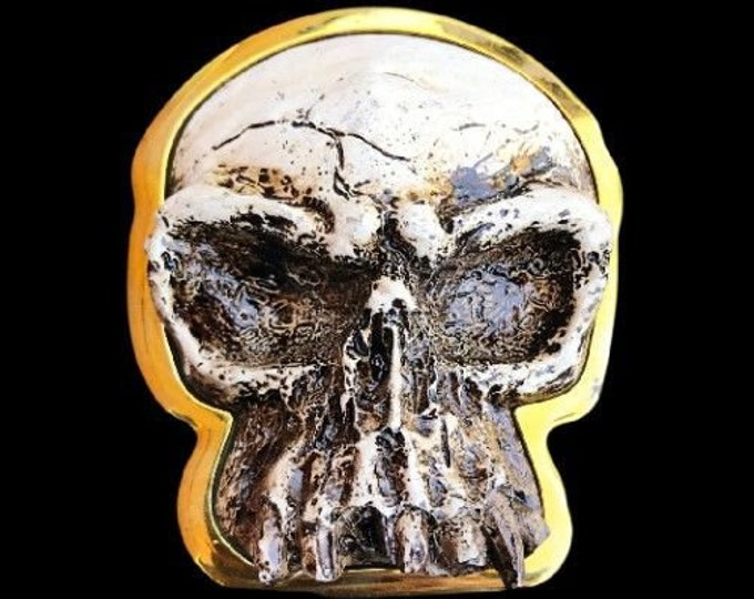 Unique White Stone Like Skull Head Belt Buckle Buckles