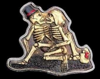 Kissing Skulls Till Death Do Us Part Belt Buckle Buckles