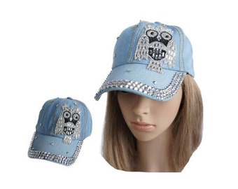 Rhinestone Owl Bling Denim Women's Baseball Cap Hat