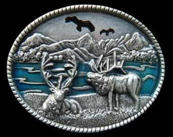 Moose Caribou Deer Elk Reindeer Alaskan Manitoba Hunter Hunter's Hunting Season Equipment Belt Buckle Buckles
