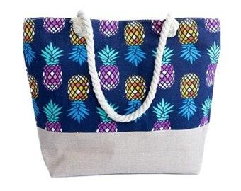 Large Capacity Zipper Handbag Shopping Travel Tote Shoulder Beach Bag Pineapple