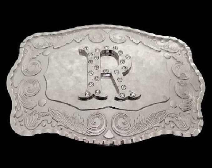 Letter Name Initial R Monogram Western Belt Buckle Buckles