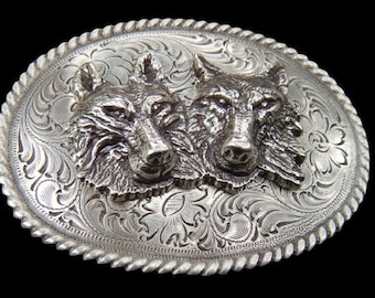Grey Wild Indian Lone Wolf Western Pewter Belt Buckle
