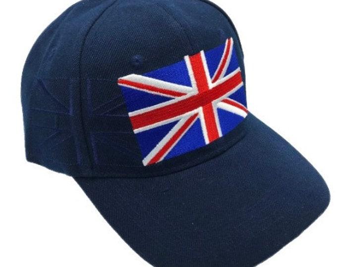 Baseball Cap Raised Union Jack Embroidered Summer Hat Cap Navy