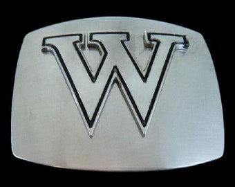 Initial W Letter Name Tag Monogram Chrome Belt Buckle Buckles