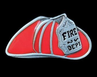 Fire Dept Fireman Firemen Firefighter Red Hat FD Belt Buckle Buckles
