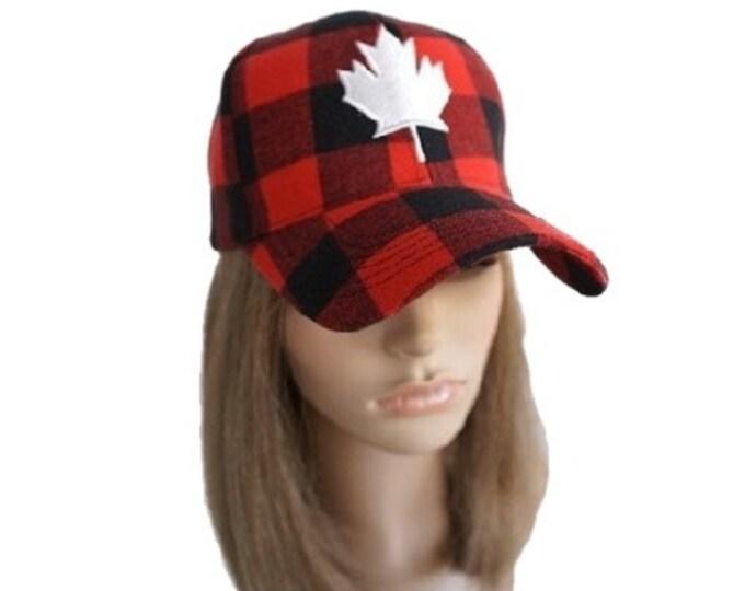 Canada Mapleleaf Plaid Baseball Cap Plaid Flannel Hat Caps One Size Fits All!