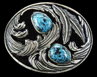 Turquoise Blue Stone Aztec Maya Belt Buckle Buckles