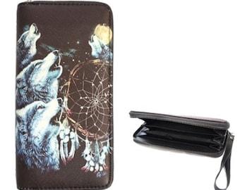 Howling Wolf Wolves Fashion Women's Zipper Clutch Wallet