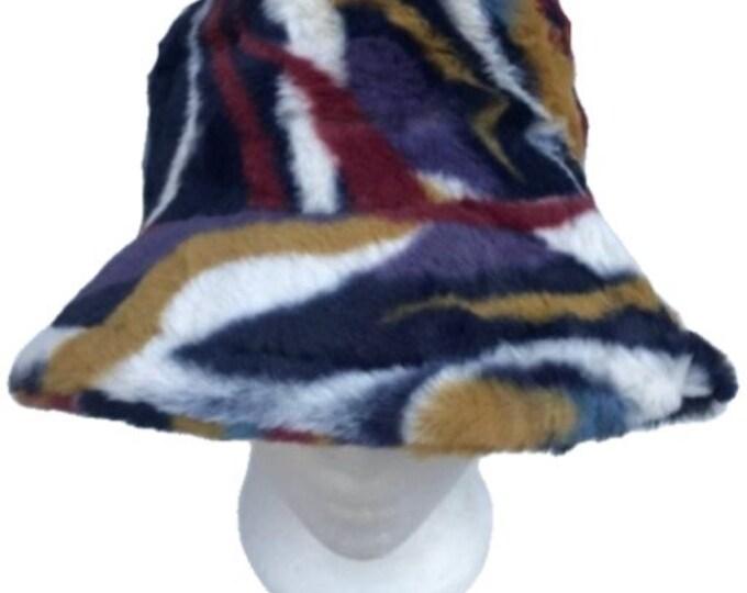 Women Lady Winter Plush Fluffy Bucket Hat Warm Faux Fur Fisherman Cap Hats