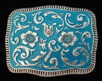 Western Cowboy Cowgirl Flower Belt Buckle Blue Cowboys Cowgirls Buckles Belts