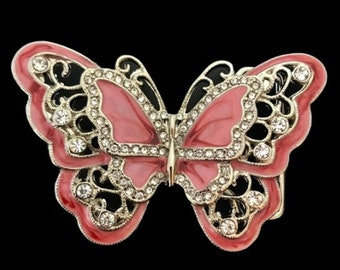 Light Pink Rhinestone Glitter Butterfly Butterflies Belt Buckles Boucle Ceinture