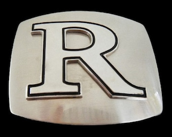 Initial R Letter Name Tag Monogram Chrome Belt Buckle Buckles