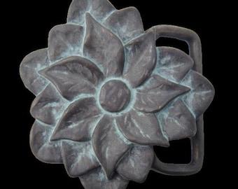 Celtic Blooming Rose Flower Western Belt Buckle