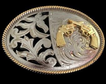 Western Style Cowboy Crossed Gun Shooter Belt Buckle Silver Gold Tone