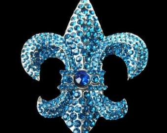 Quebec Orleans Saints Lys Flower Fleur Lis Rhinestone Belt Buckle Buckles