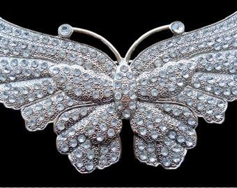 Glittering Glitter Rhinestone Big Flying Butterfly Belt Buckle Buckles