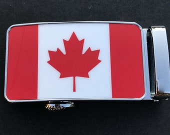 Canada Flag Men's Belt Buckle Auto Sliding Self Locking Ratcheting Track