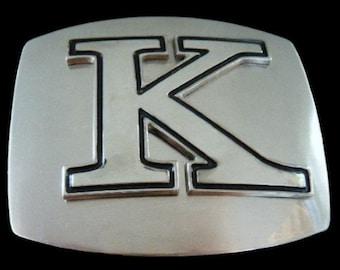 Initial K Letter Name Tag Monogram Chrome Belt Buckle Buckles
