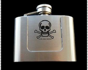 Pick Your Poison Skull Crossbones Cool 3 Oz Flask Belt Buckle