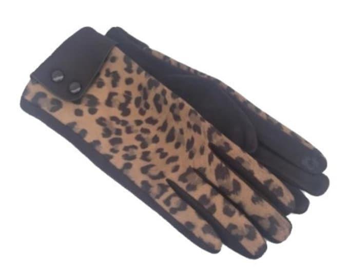 Women's Animal Print Cheetah Leopard Gloves Winter Fall
