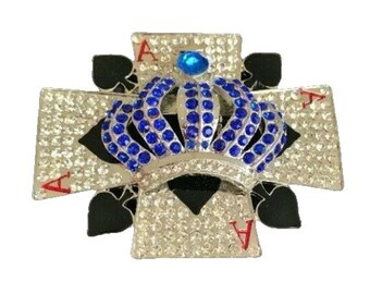 Rhinestone Blue Crown Cross Spades Cards Bling Belt Buckle