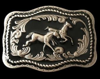 Western Wild Horse Pony Cowboy Rodeo Belt Buckle