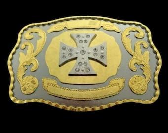 Cross Praying Faith Long Rodeo Cowboy Western Shine Belt Buckle