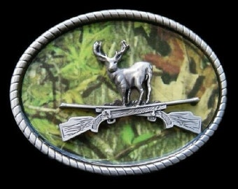 Camouflage Deer Buck Hunting Hunter Rifle 3D Belt Buckle Boucle de Ceinture