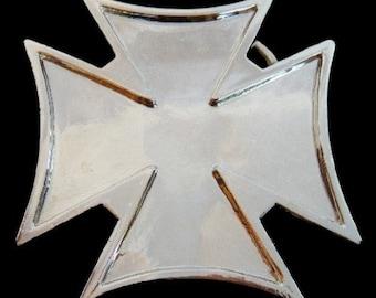 Iron Maltese Irish Celtic Cross Belt Buckle