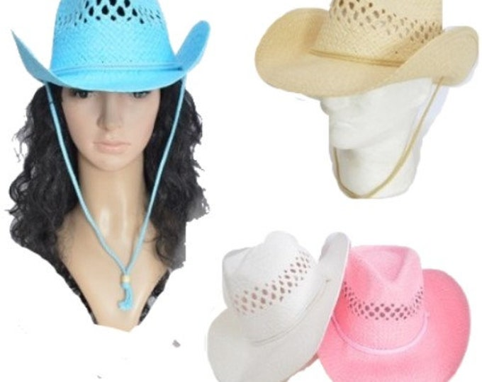 Paper Straw Cowboy Hat Men Women Western Cowgirl
