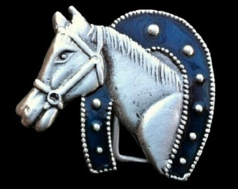 Horse Horseshoe Western Belt Buckle
