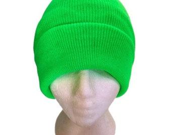 Green Neon Beanie Cap Plain Knit Ski Hat Cuff Winter Solid Warm Men Women Toque