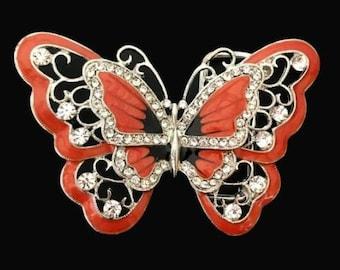 Orange Rhinestones Glitter Butterfly Butterflies Belt Buckle