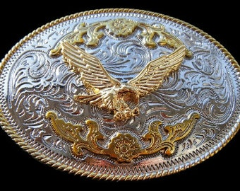 American Bald Flying Eagle Gold and Silver Plated Belt Buckle Boucle de Ceinture