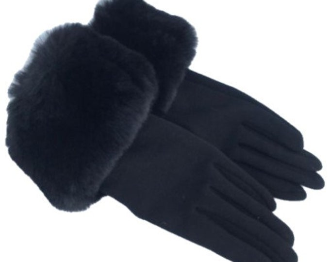 Women's Winter Black Faux Fur Trim Gloves