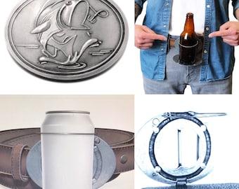 Gone Fishing Fish Fisherman Beverage Beer Can Bottle Holder Belt Buckle