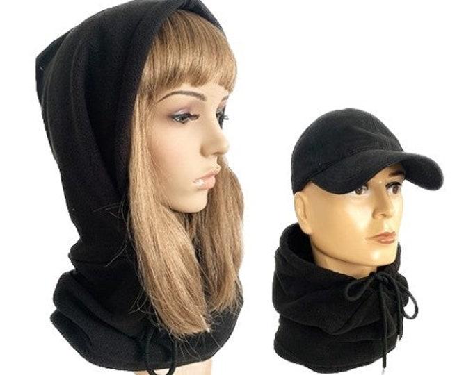 Hat Scarf Neck Warmer Winter Thick Warm Beanies Fleece Caps 2 in 1