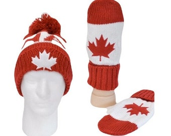 Canada Canadian Mapleleaf Red White Unisex Knitted Hat Winter Hat Gloves Mitts