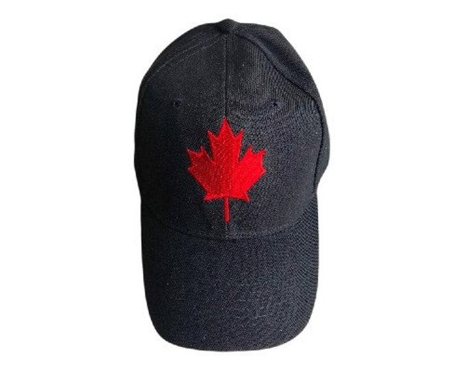 Black Canada Canadian Red Maple Leaf Flag Hat BaseBall Ball Cap
