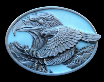 Flying American Bald Eagle Blue Sky Metal Belt Buckle
